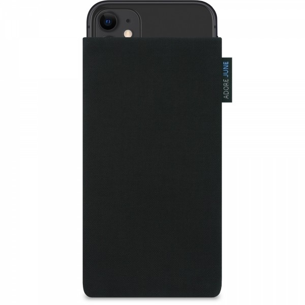 The picture shows the front of Classic Sleeve for Apple iPhone 11 in color Black; As an illustration, it also shows what the compatible device looks like in this bag
