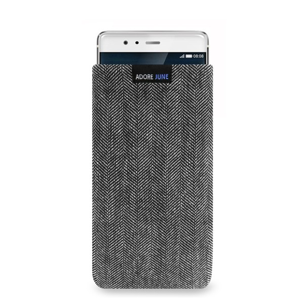 The picture shows the front of Business Sleeve for Huawei P9 in color Grey / Black; As an illustration, it also shows what the compatible device looks like in this bag