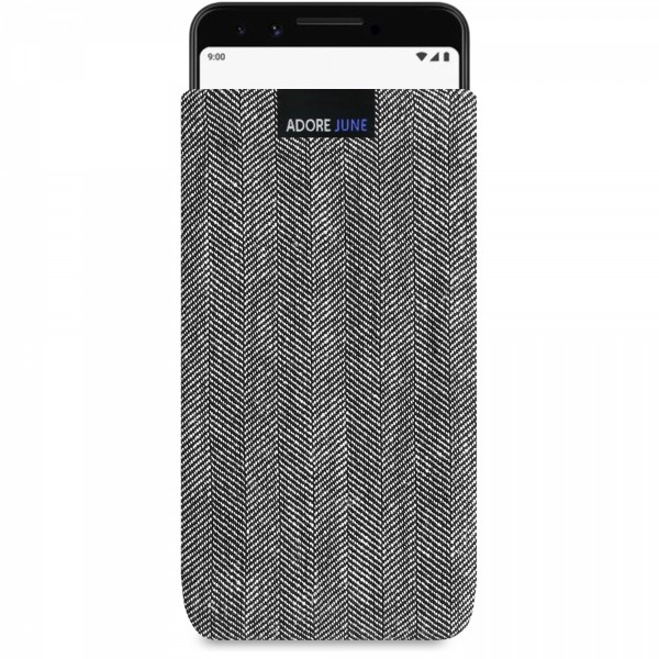 The picture shows the front of Business Sleeve for Google Pixel 3 in color Grey / Black; As an illustration, it also shows what the compatible device looks like in this bag