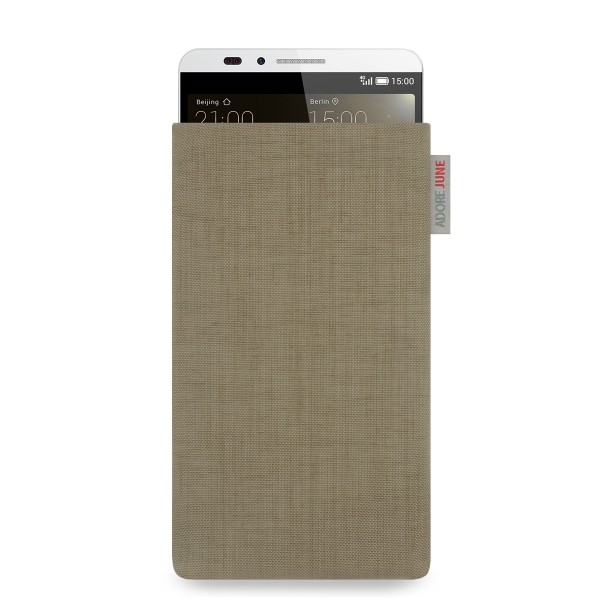 The picture shows the front of Classic Sleeve for Huawei Ascend Mate 7 in color Gold; As an illustration, it also shows what the compatible device looks like in this bag
