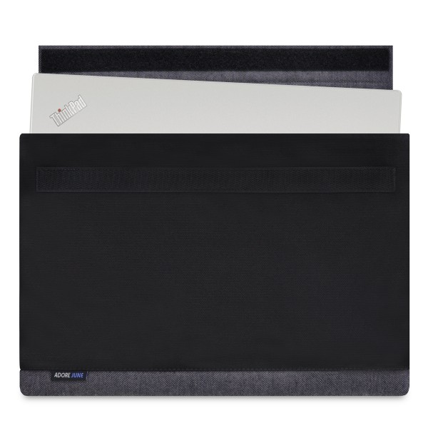 The picture shows the front of Bold Sleeve for Lenovo ThinkPad X1 Carbon in color Grey / Black; As an illustration, it also shows what the compatible device looks like in this bag