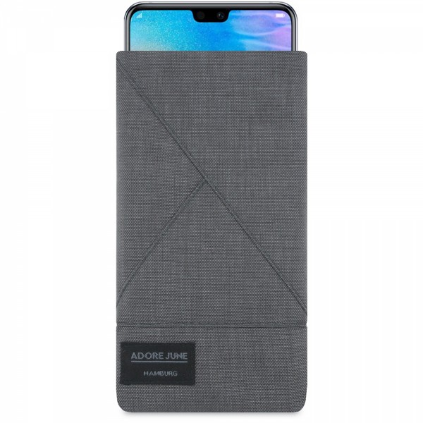 The picture shows the front of Triangle Sleeve for Huawei P20 and Huawei P20 Lite in color Dark Grey; As an illustration, it also shows what the compatible device looks like in this bag