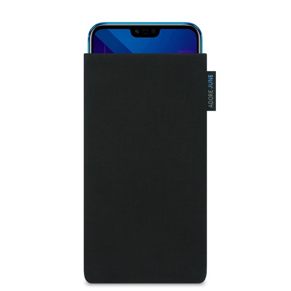 The picture shows the front of Classic Sleeve for Honor 10 in color Black; As an illustration, it also shows what the compatible device looks like in this bag