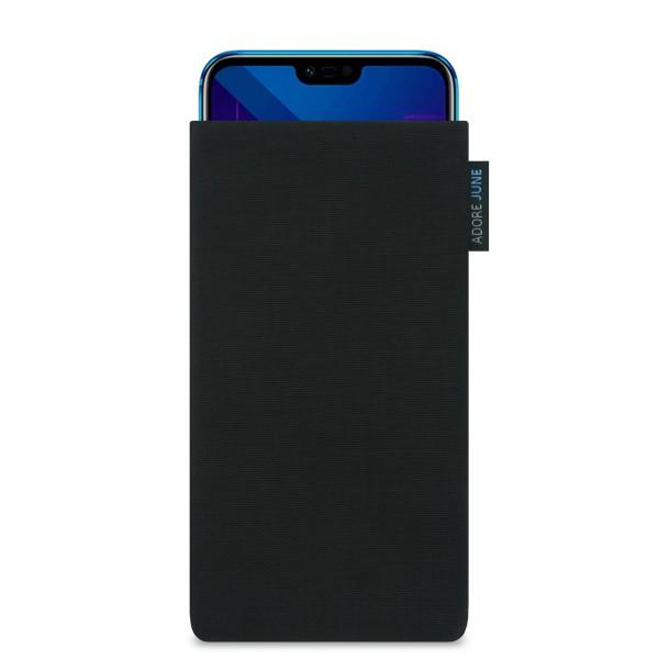 Das Bild zeigt die Vorderseite von Classic Tasche für Honor 10 in Farbe Schwarz; Zur Veranschaulichung wird ebenfalls dargestellt, wie das kompatible Gerät in dieser Tasche aussieht