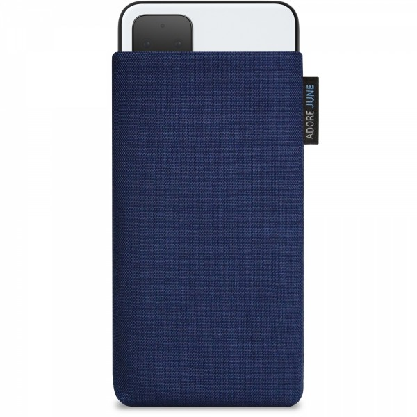 The picture shows the front of Classic Sleeve for Google Pixel 4 XL in color Midnight-Blue; As an illustration, it also shows what the compatible device looks like in this bag