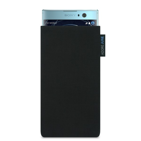 The picture shows the front of Classic Sleeve for Sony Xperia XA2 in color Black; As an illustration, it also shows what the compatible device looks like in this bag
