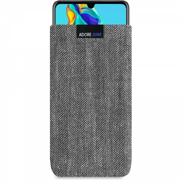 The picture shows the front of Business Sleeve for Huawei P30 in color Grey / Black; As an illustration, it also shows what the compatible device looks like in this bag