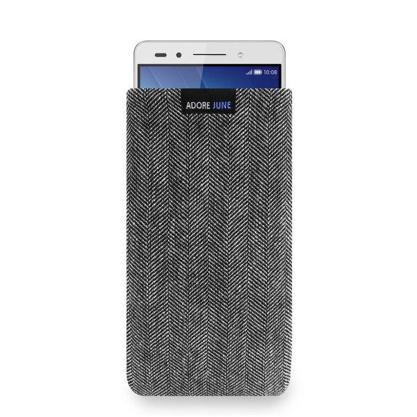 The picture shows the front of Business Sleeve for Honor 7 in color Grey / Black; As an illustration, it also shows what the compatible device looks like in this bag