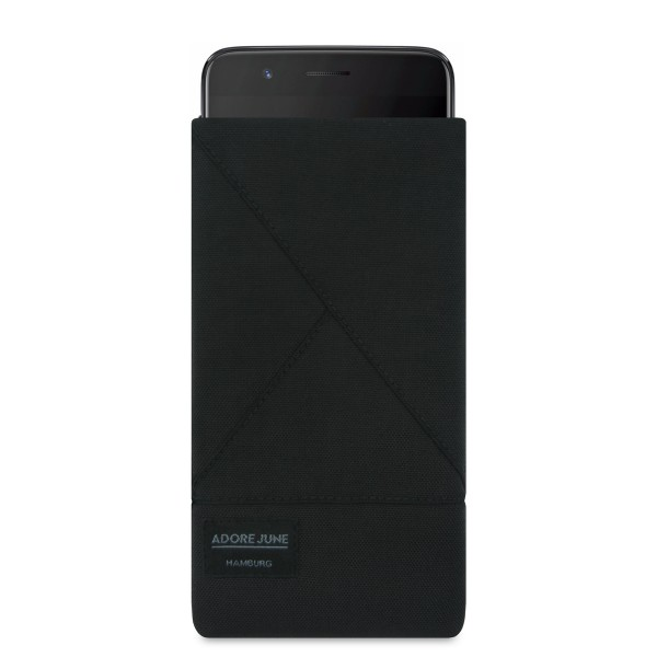 The picture shows the front of Triangle Sleeve for OnePlus 5 in color Black; As an illustration, it also shows what the compatible device looks like in this bag