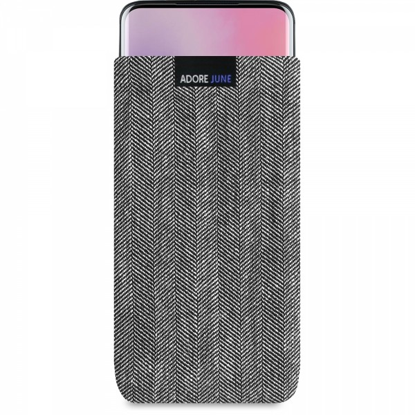 The picture shows the front of Business Sleeve for OnePlus 7 Pro and OnePlus 7T Pro in color Grey / Black; As an illustration, it also shows what the compatible device looks like in this bag