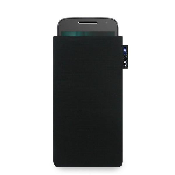 Das Bild zeigt die Vorderseite von Classic Tasche für Motorola Moto G5 und Moto G4 Play in Farbe Schwarz; Zur Veranschaulichung wird ebenfalls dargestellt, wie das kompatible Gerät in dieser Tasche aussieht