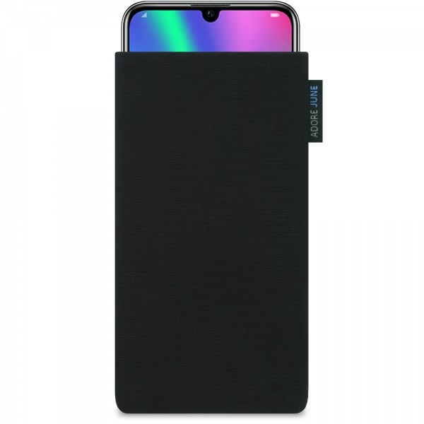 The picture shows the front of Classic Sleeve for Honor 20 Honor 20 Pro and Honor 10 LITE in color Black; As an illustration, it also shows what the compatible device looks like in this bag