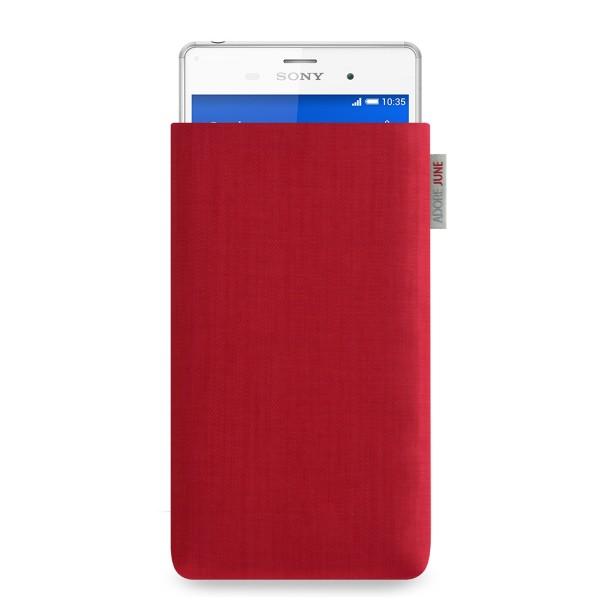 Das Bild zeigt die Vorderseite von Classic Tasche für Sony Xperia Z3 in Farbe Rot; Zur Veranschaulichung wird ebenfalls dargestellt, wie das kompatible Gerät in dieser Tasche aussieht