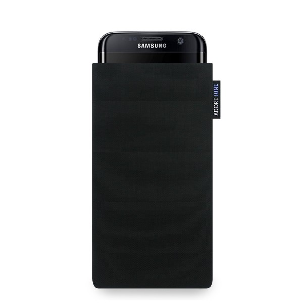 The picture shows the front of Classic Sleeve for Samsung Galaxy S7 Edge in color Black; As an illustration, it also shows what the compatible device looks like in this bag