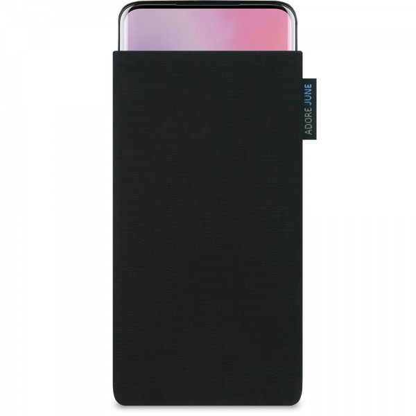 The picture shows the front of Classic Sleeve for OnePlus 7 Pro and OnePlus 7T Pro in color Black; As an illustration, it also shows what the compatible device looks like in this bag