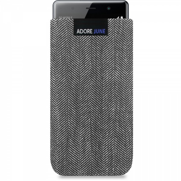 The picture shows the front of Business Sleeve for Sony Xperia XZ2 Premium in color Grey / Black; As an illustration, it also shows what the compatible device looks like in this bag