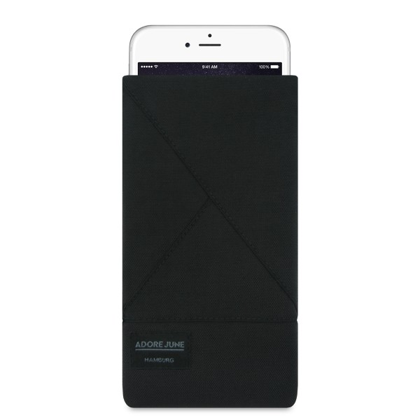 The picture shows the front of Triangle Sleeve for Apple iPhone 6 Plus 6S Plus and iPhone 7 Plus in color Black; As an illustration, it also shows what the compatible device looks like in this bag