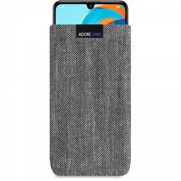 The picture shows the front of Business Sleeve for Huawei P30 lite in color Black / Grey; As an illustration, it also shows what the compatible device looks like in this bag