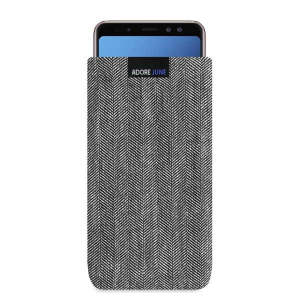 The picture shows the front of Business Sleeve for Samsung Galaxy A8 Plus 2018 in color Grey / Black; As an illustration, it also shows what the compatible device looks like in this bag