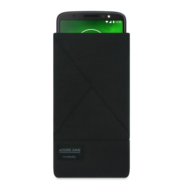The picture shows the front of Triangle Sleeve for Motorola Moto G6 Plus in color Black; As an illustration, it also shows what the compatible device looks like in this bag