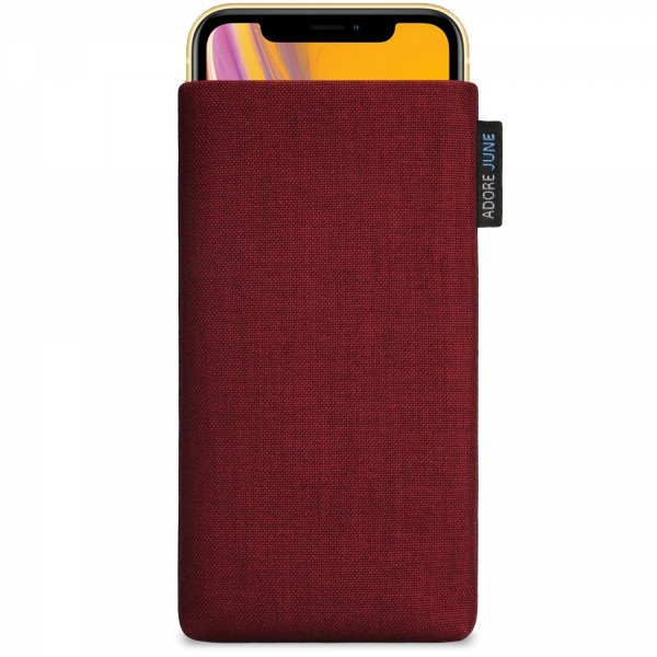 The picture shows the front of Classic Sleeve for Apple iPhone XR in color Bordeaux-Red; As an illustration, it also shows what the compatible device looks like in this bag