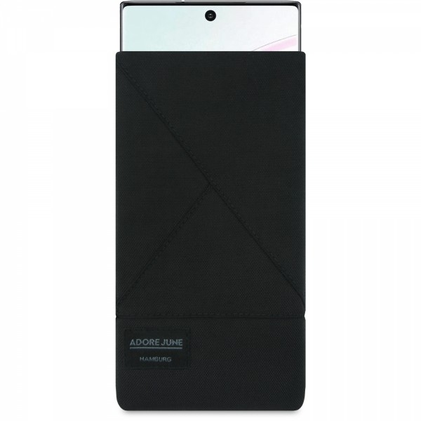 The picture shows the front of Triangle Sleeve for Samsung Galaxy Note 10+ in color Black; As an illustration, it also shows what the compatible device looks like in this bag