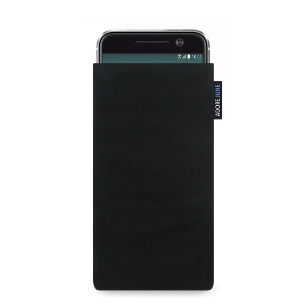 The picture shows the front of Classic Sleeve for HTC 10 in color Black; As an illustration, it also shows what the compatible device looks like in this bag