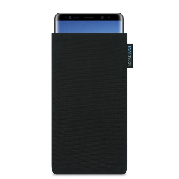 The picture shows the front of Classic Sleeve for Samsung Galaxy Note 8 in color Black; As an illustration, it also shows what the compatible device looks like in this bag