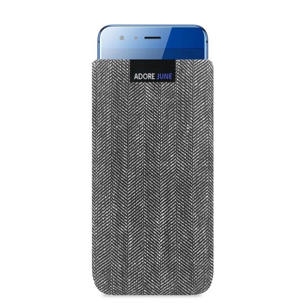 The picture shows the front of Business Sleeve for Honor 9 in color Grey / Black; As an illustration, it also shows what the compatible device looks like in this bag