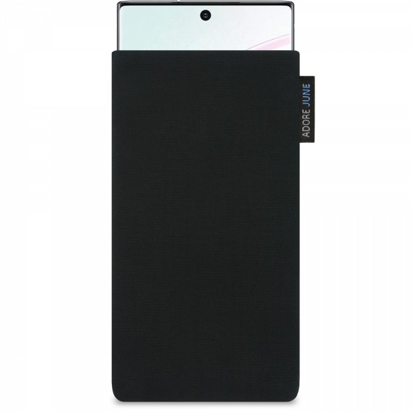The picture shows the front of Classic Sleeve for Samsung Galaxy Note 10+ in color Black; As an illustration, it also shows what the compatible device looks like in this bag