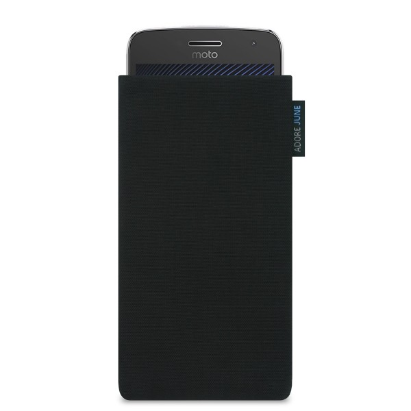 The picture shows the front of Classic Sleeve for Motorola Moto G5 Plus in color Black; As an illustration, it also shows what the compatible device looks like in this bag
