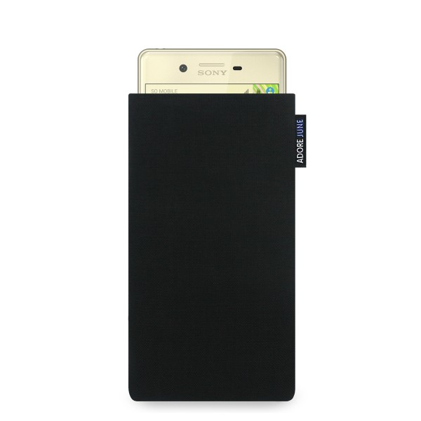 The picture shows the front of Classic Sleeve for Sony Xperia X in color Black; As an illustration, it also shows what the compatible device looks like in this bag