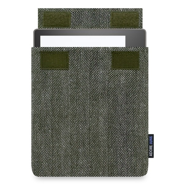 The picture shows the front of Business Sleeve for Kindle Oasis in color Grey / Black; As an illustration, it also shows what the compatible device looks like in this bag