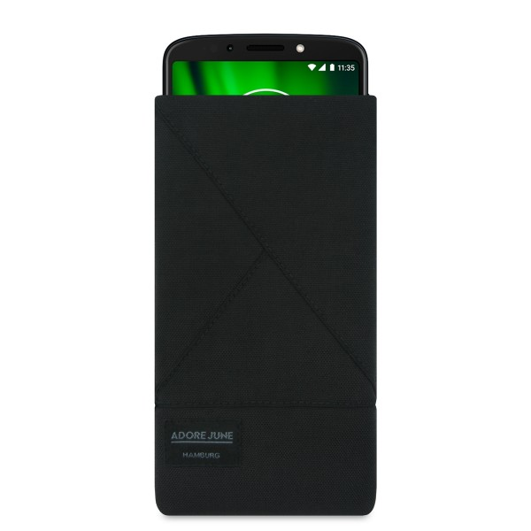 The picture shows the front of Triangle Sleeve for Motorola Moto G6 Play in color Black; As an illustration, it also shows what the compatible device looks like in this bag