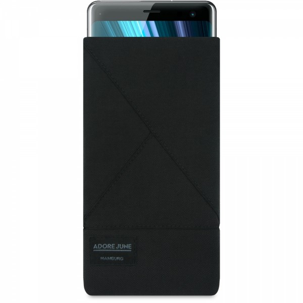 The picture shows the front of Triangle Sleeve for Sony Xperia XZ3 in color Black; As an illustration, it also shows what the compatible device looks like in this bag