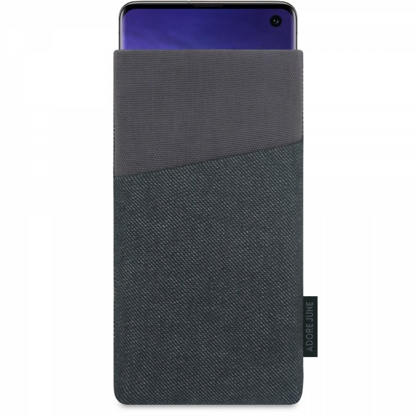 The picture shows the front of Clive Sleeve for Samsung Galaxy S10 in color Black / Grey; As an illustration, it also shows what the compatible device looks like in this bag