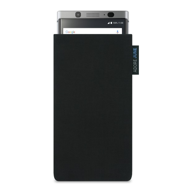 The picture shows the front of Classic Sleeve for BlackBerry KeyOne in color Black; As an illustration, it also shows what the compatible device looks like in this bag