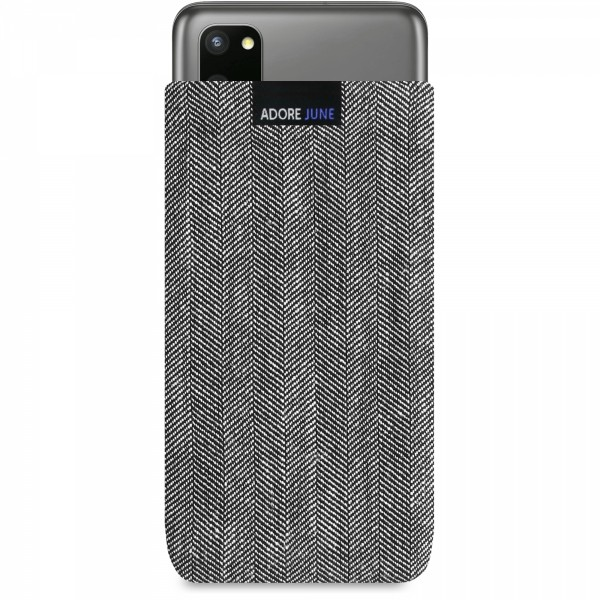 The picture shows the front of Business Sleeve for Samsung Galaxy S20 in color Grey / Black; As an illustration, it also shows what the compatible device looks like in this bag