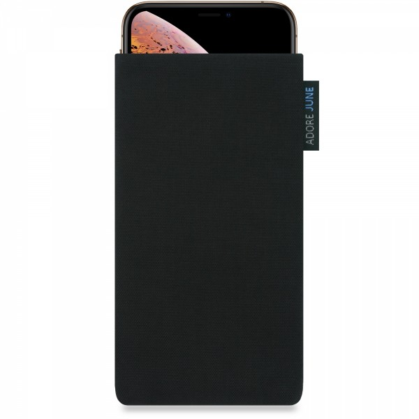 The picture shows the front of Classic Sleeve for Apple iPhone X and iPhone XS in color Black; As an illustration, it also shows what the compatible device looks like in this bag