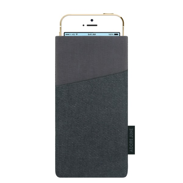 The picture shows the front of Clive Sleeve for Apple iPhone SE and iPhone 5 and 5S in color Black / Grey; As an illustration, it also shows what the compatible device looks like in this bag