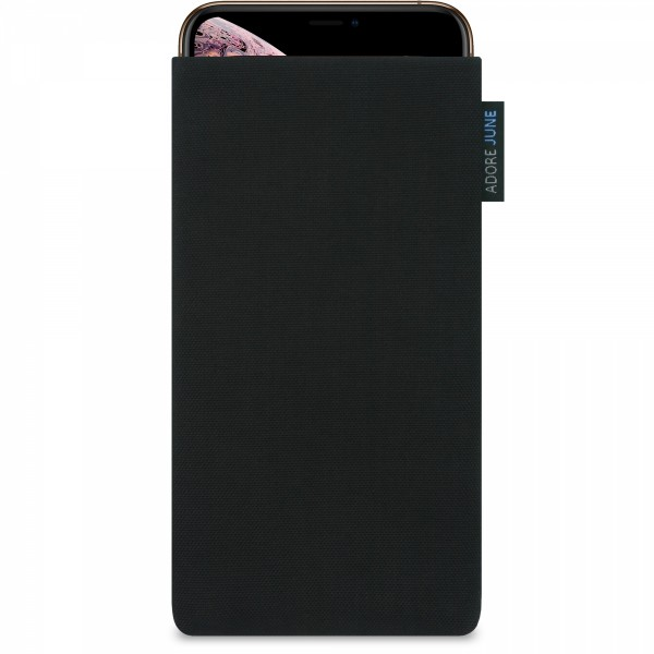 The picture shows the front of Classic Sleeve for Apple iPhone Xs Max in color Black; As an illustration, it also shows what the compatible device looks like in this bag