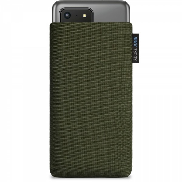 The picture shows the front of Classic Sleeve for Samsung Galaxy S20 Ultra in color Olive-Green; As an illustration, it also shows what the compatible device looks like in this bag