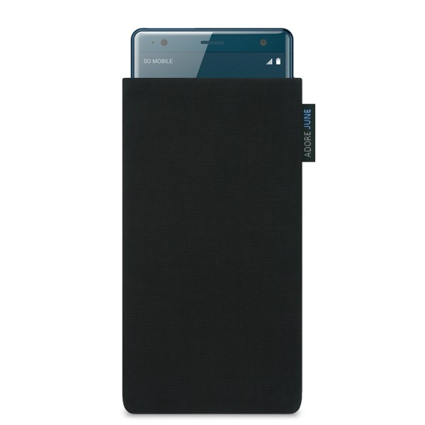 The picture shows the front of Classic Sleeve for Sony Xperia XZ2 in color Black; As an illustration, it also shows what the compatible device looks like in this bag