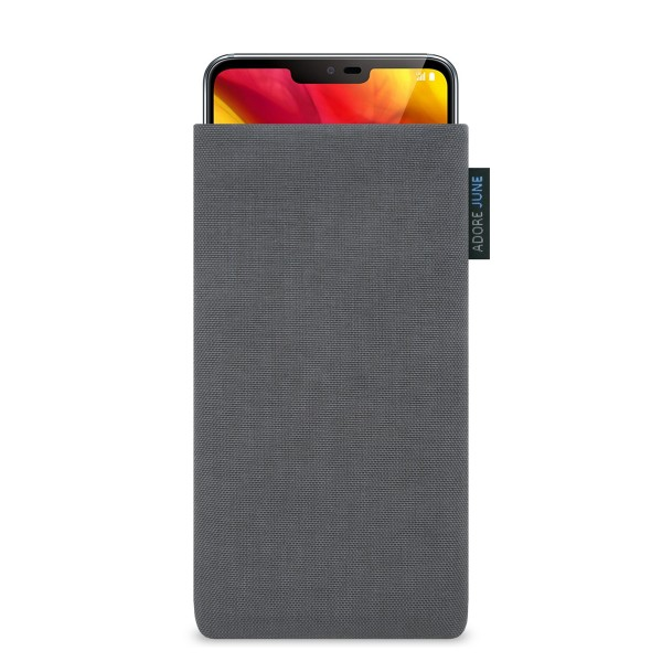 The picture shows the front of Classic Sleeve for LG G7 ThinQ and LG G7 One in color Dark Grey; As an illustration, it also shows what the compatible device looks like in this bag
