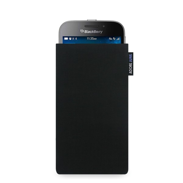 The picture shows the front of Classic Sleeve for BlackBerry Classic in color Black; As an illustration, it also shows what the compatible device looks like in this bag