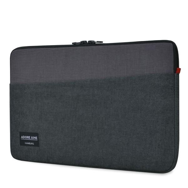 Das Bild zeigt die Vorderseite von Clive Hülle für Apple MacBook Pro 13 und MacBook Air 13 in Farbe Schwarz / Grau