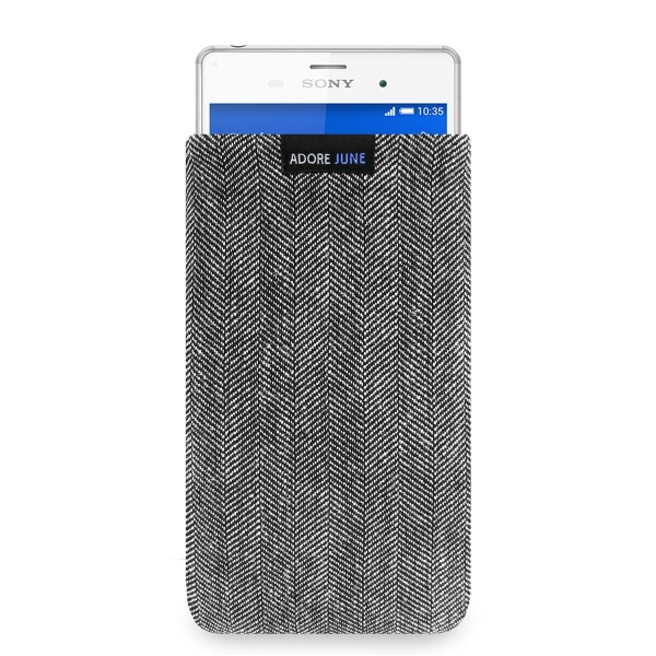 The picture shows the front of Business Sleeve for Sony Xperia Z3 in color Grey / Black; As an illustration, it also shows what the compatible device looks like in this bag