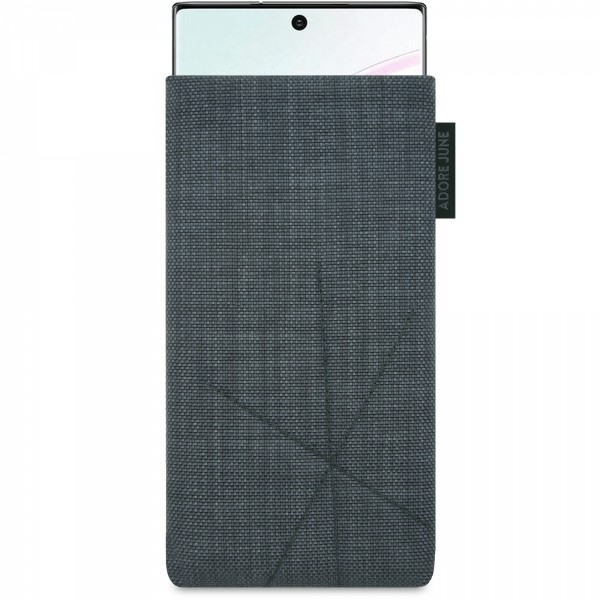 The picture shows the front of Axis Sleeve for Samsung Galaxy Note 10 with Retract Function in color Dark Grey; As an illustration, it also shows what the compatible device looks like in this bag