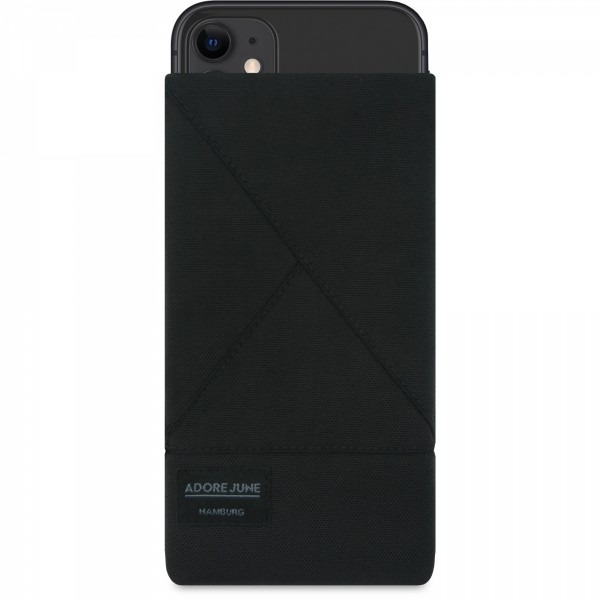 The picture shows the front of Triangle Sleeve for Apple iPhone 11 in color Black; As an illustration, it also shows what the compatible device looks like in this bag