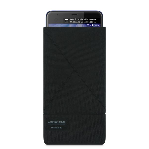 The picture shows the front of Triangle Sleeve for HTC U Ultra in color Black; As an illustration, it also shows what the compatible device looks like in this bag